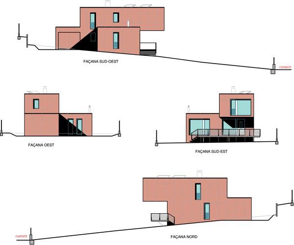 Alzado de las cuatro fachadas, Contiene una Casa, 2011.