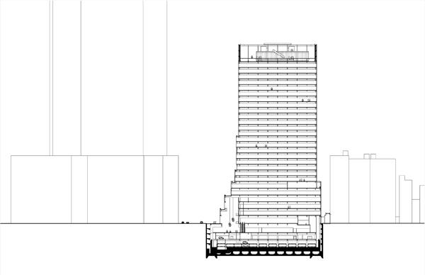 Torre Fukoku, árbol de vidrio de Dominique Perrault