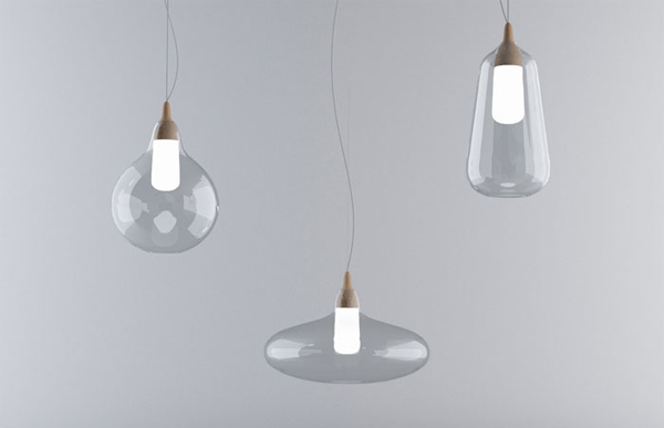 Jarrones y lámparas en vidrio, Héctor Serrano para La Mediterrána