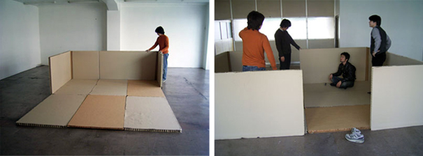 Paper Partition System 1, Fukoka, Shigeru Ban Laboratory, 2005.