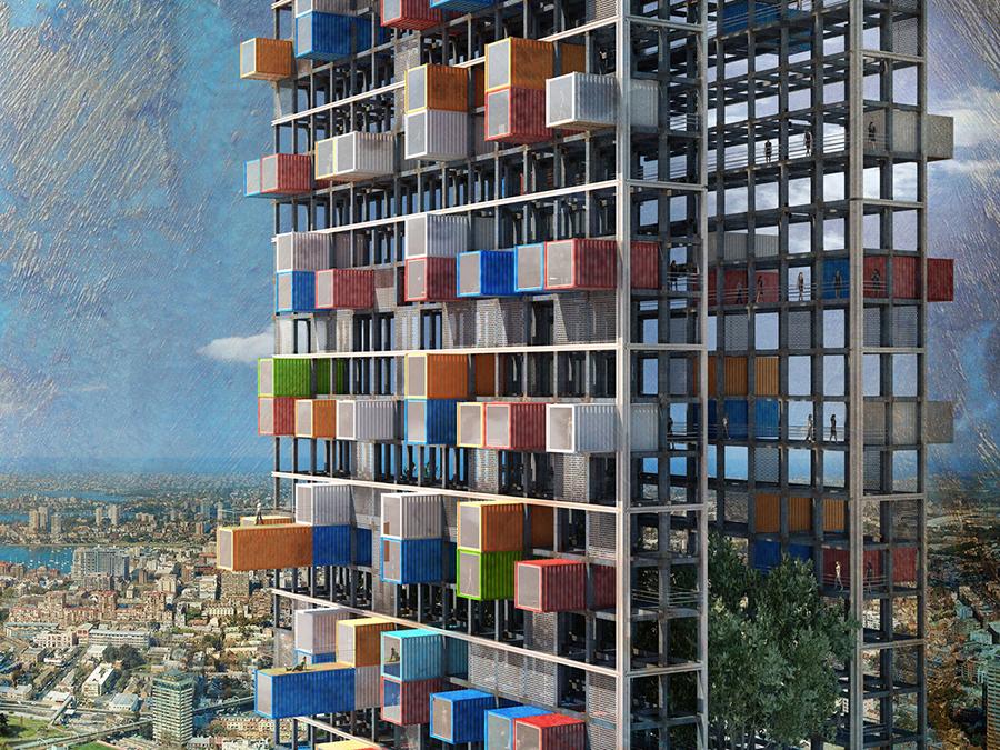 Habitar tipo Plug-in. Rascacielos Nómade de Luca D'Amico y Luca Tesio