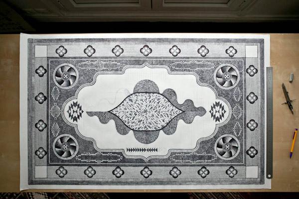 Tapetes decorados con bolígrafos Bic, por Jonathan Brechignac