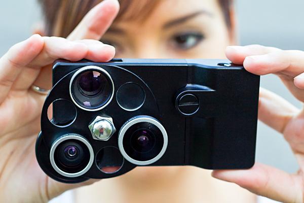 iPhone Lens Dial de Photojojo, funda con tres lentes para móvil