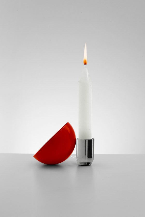 Flama de Martí Guixé, lámpara de leds y velas para Danese