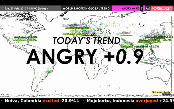 Emotion Forecast, visualización estadística de emociones por Maurice Benayoun
