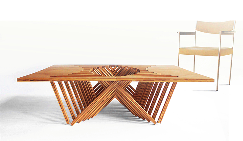 Rising Table, mesa plegable de madera por Robert van Embricqs