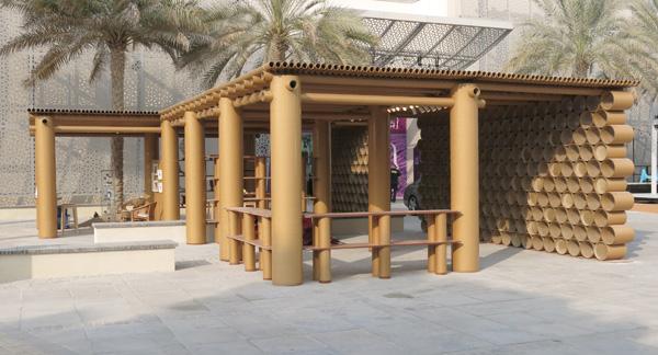 Shigeru Ban, pabellón de cartón para la feria de arte de Abu Dabi