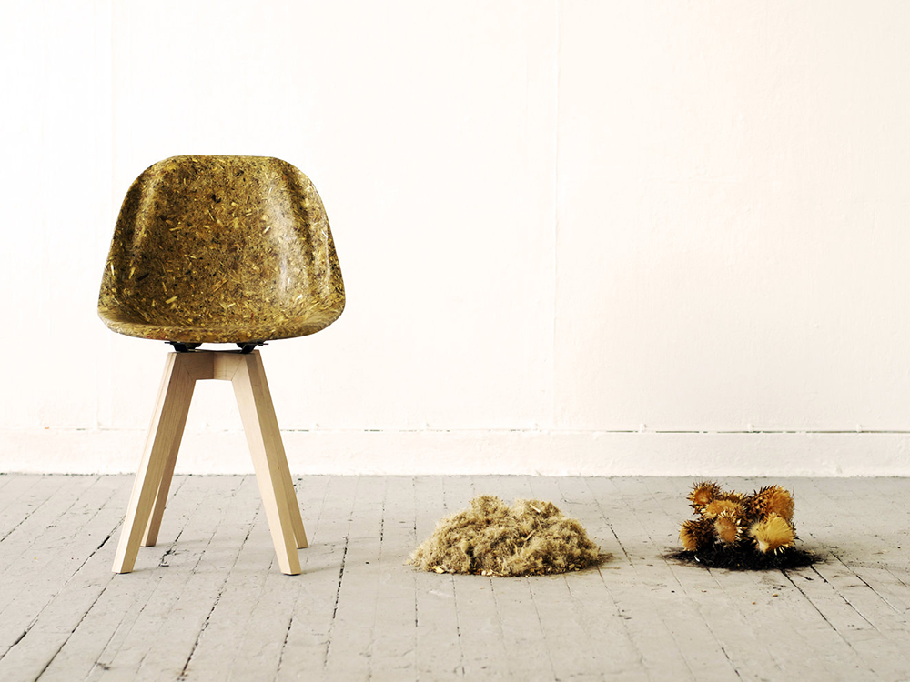 Artichair, la silla vegetal de Kizis Studio. Plástico de fibra de cardo reforzada