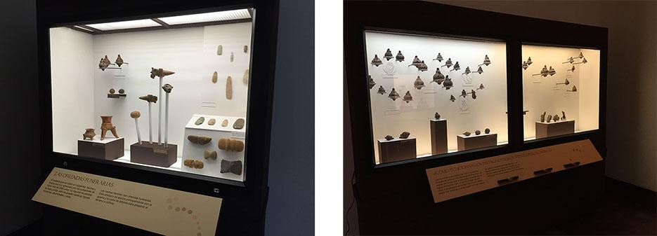 Vitrinas de la muestra, foto cortesía del Museo Nacional.