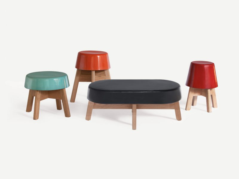 Ceramicables, las mesas/banco de Esrawe Studio. Cerámica y madera de encino