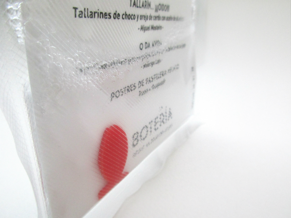 Carta ultramarina realizada para el menú degustación Marejada de La Botería, Iglöo Creativo, Huesca (España), 2016