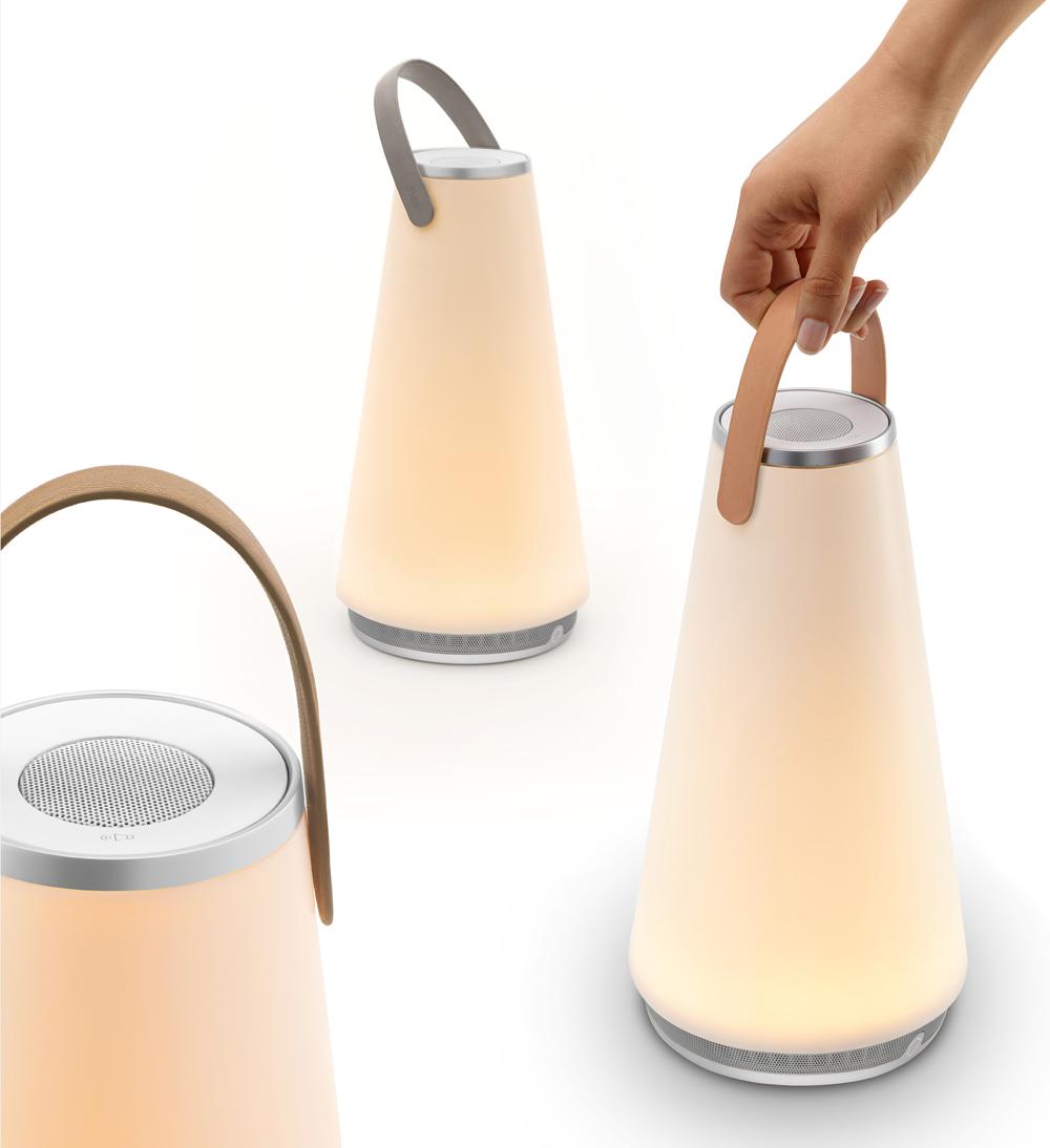 UMA, luz y sonido en la lámpara portátil de Pablo Designs
