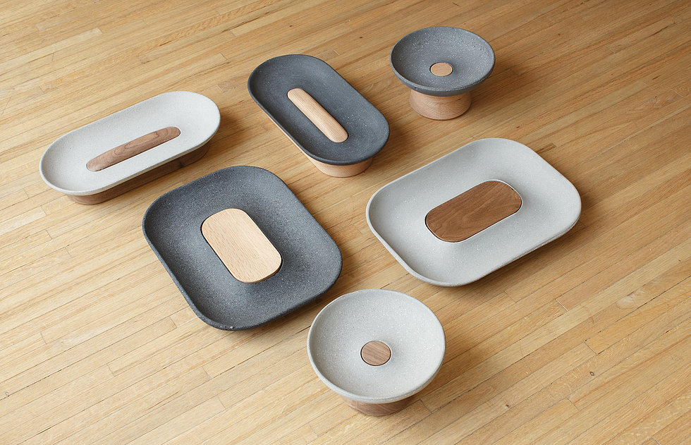 Concrete + wood, bandejas de madera y concreto de estudio La Selva