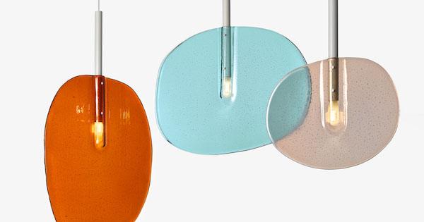 Lollipop, colección de lámparas de Boris Klimek. Vidrio moldeado por gravedad
