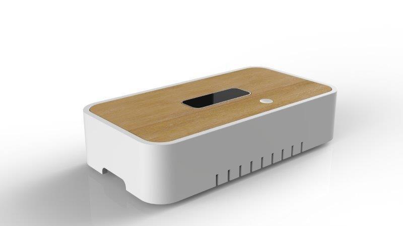Motion Box, de ADN Design para Binary Soul con cuerpo en DuPont Corian Glacier White. ©ADN Design.