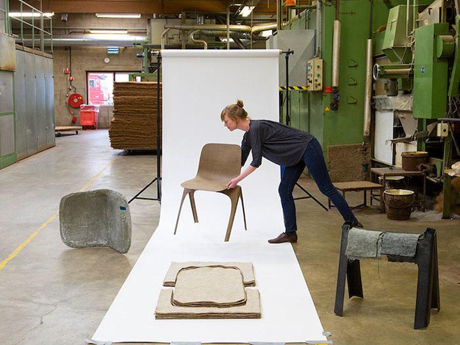 Flax Chair, la silla de bioplástico de Christien Meindertsma. En la búsqueda de nuevos materiales