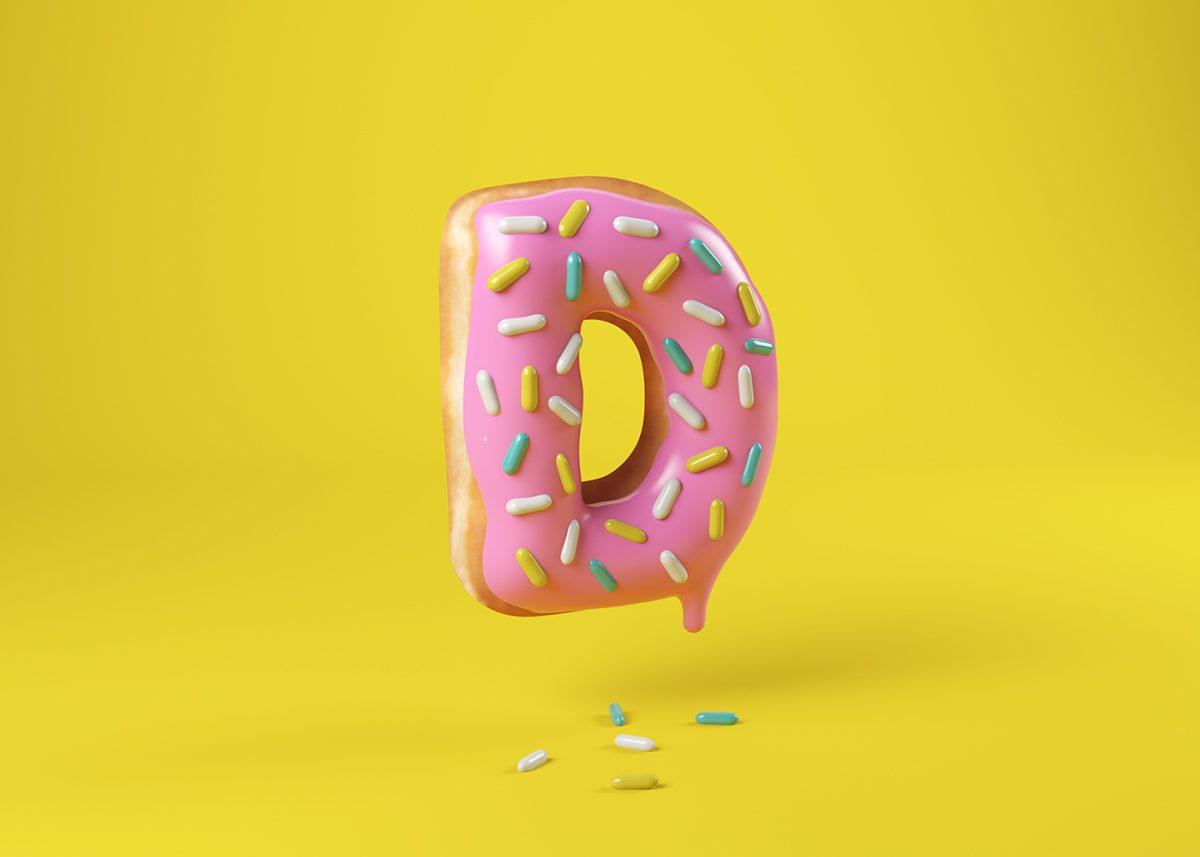 Food Alphabet, de Cees. Diseño 3D para 36 Days of Type
