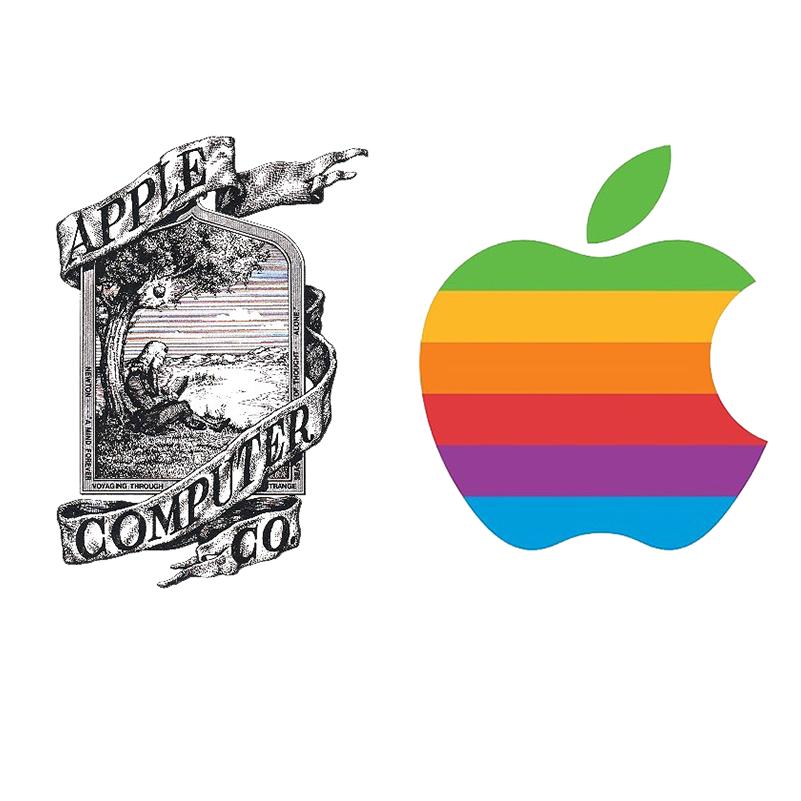 Izquierda: Steve Jobs y Ronald Wayne, 1976. Derecha: Rob Janoff 1977.