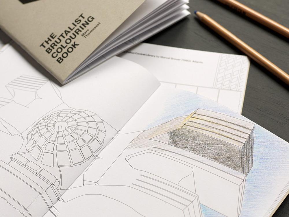 The Brutalist Coloring Book, arquitectura brutalista para colorear