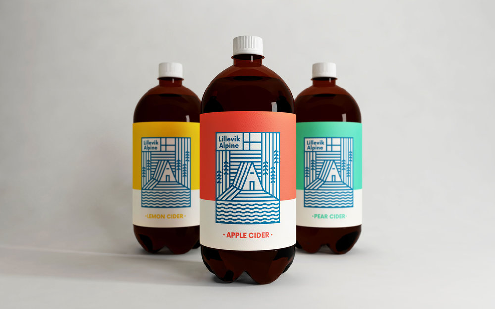Alpine Lillevik, cartelería, packaging y logotipo de Makebardo