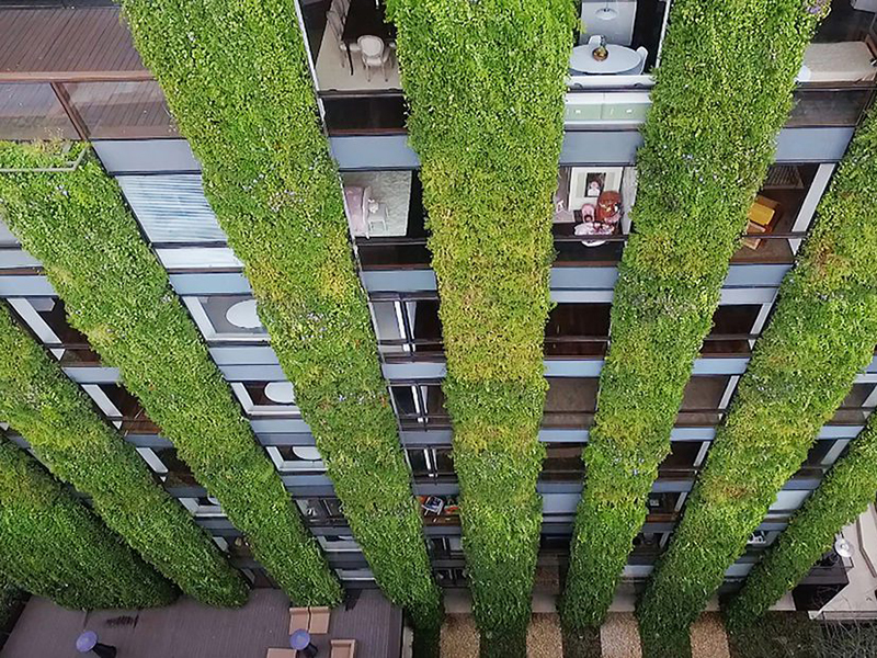 Jardín vertical del edificio Santalaia, Bogota. Ignacio Solano/Paisajismo Urbano