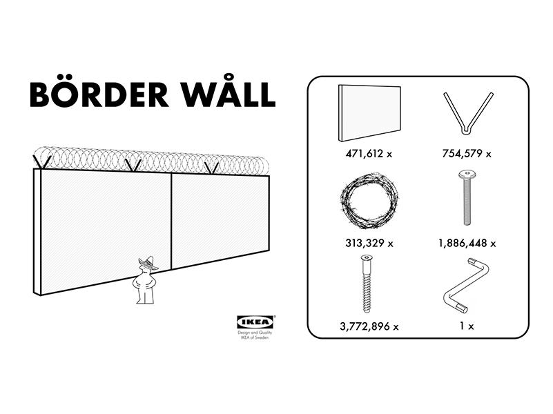 Un muro fronterizo listo para armar, la satírica oferta de IKEA a Trump