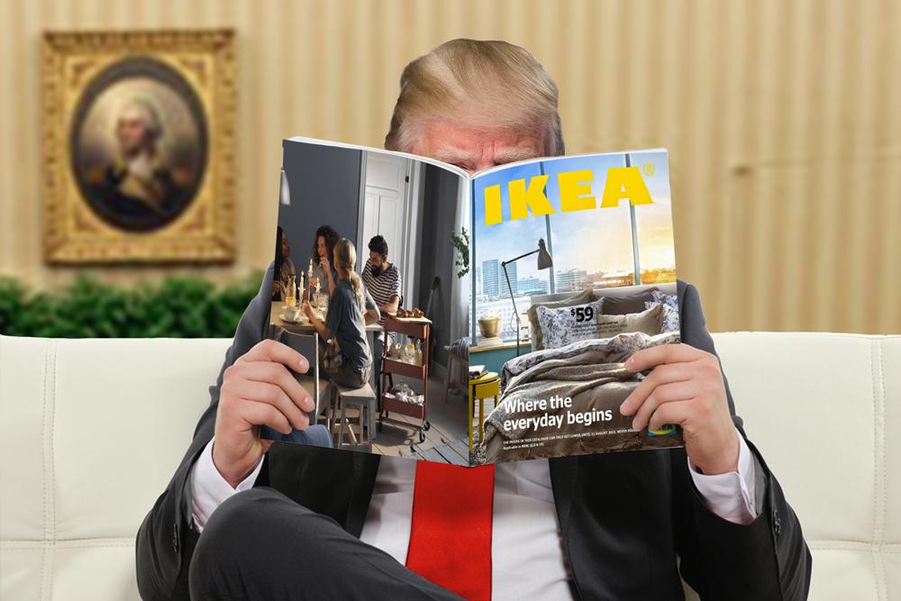 Un muro-pared listo para armar, la satírica oferta de Ikea a Trump