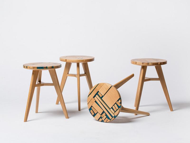 Zero per Stool, de Hattern. Taburete de piezas up-cicling y resina