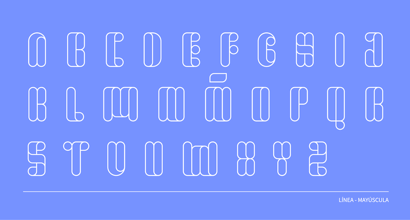 Tipografía estilo línea, mayúscula