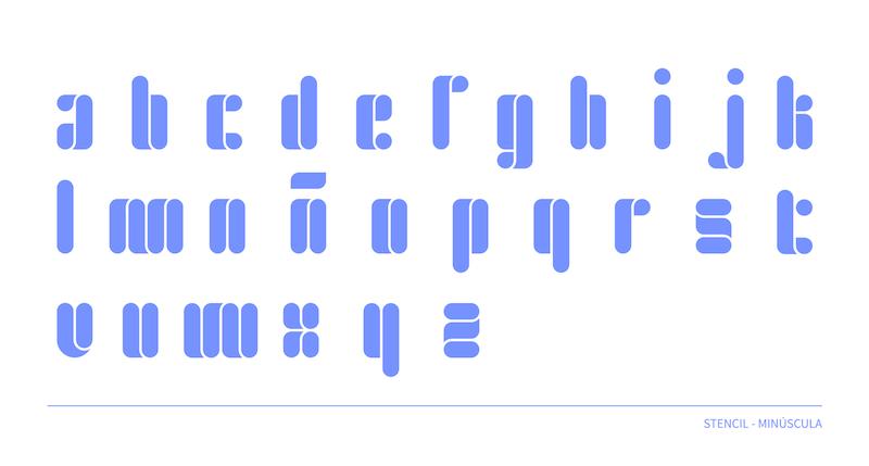 Tipografía estilo stencil, minúscula