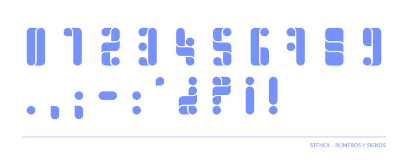 Fuente estilo stencil, números