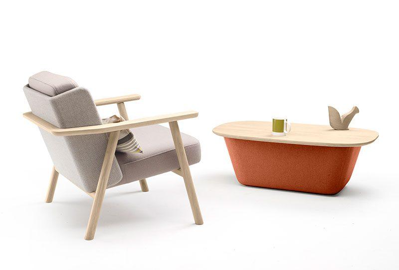 Lasai, sillón y mesa auxiliar de Jean Louis Iratzoki para Alki