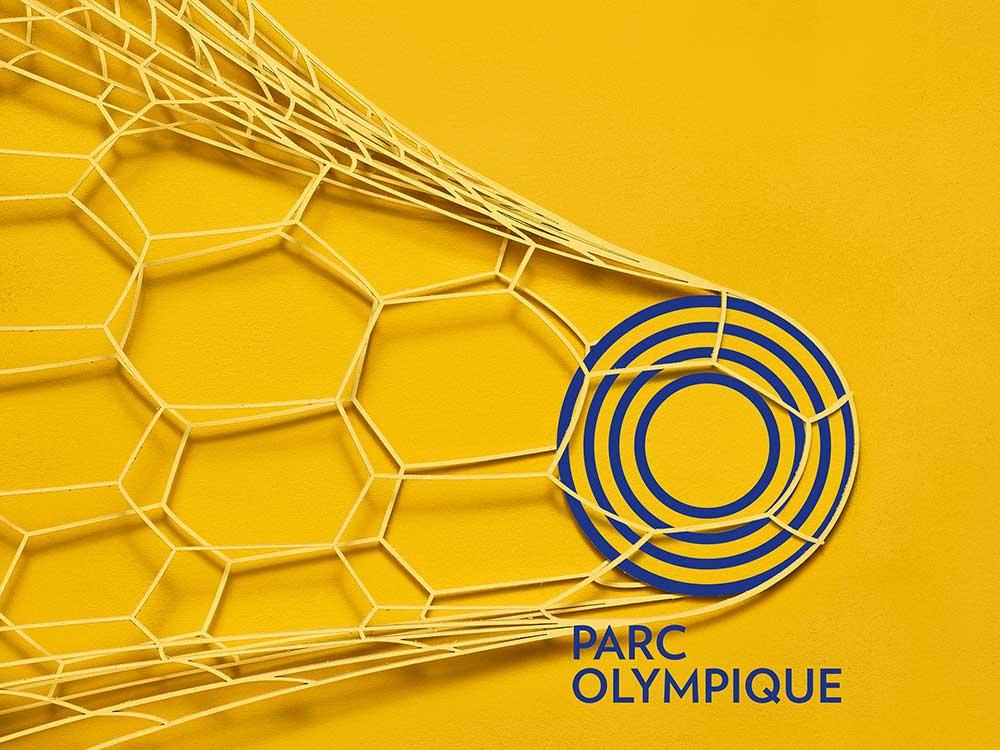 Parc Olympique, campaña de comunicación de LG2: cartón y pintura