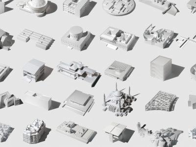 35 iconos de la arquitectura en un modelo tridimensional, de Fumio Matsumoto