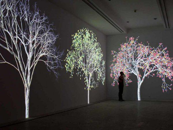 """""""Naturaleza digital"""" transformación del espacio arquitectónico a través de animaciones digitales, porJennifer Steinkamp."""