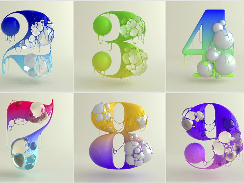Blup Numbers, burbujas y texturas derretidas en los números de TA\VO