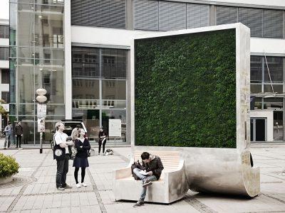 City Tree es el banco de Green City Solutions que funciona como purificador de aire.