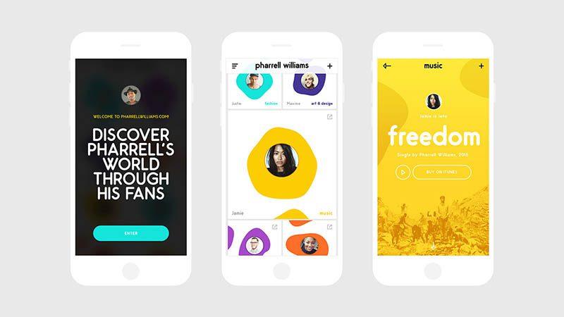 Los fans de Pharrell protagonizan el diseño de su sitio web, creado por Tal Midyan