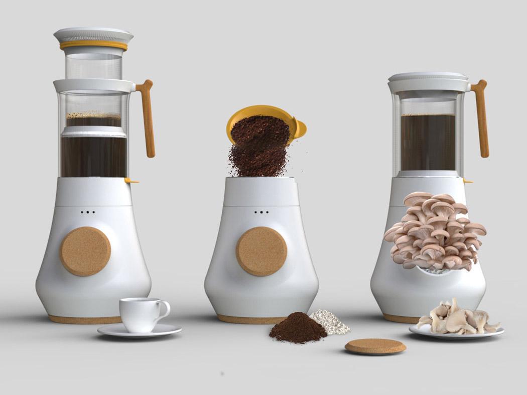 Hifa, una cafetera que cultiva setas. Reciclaje, producción local y hábitos saludables