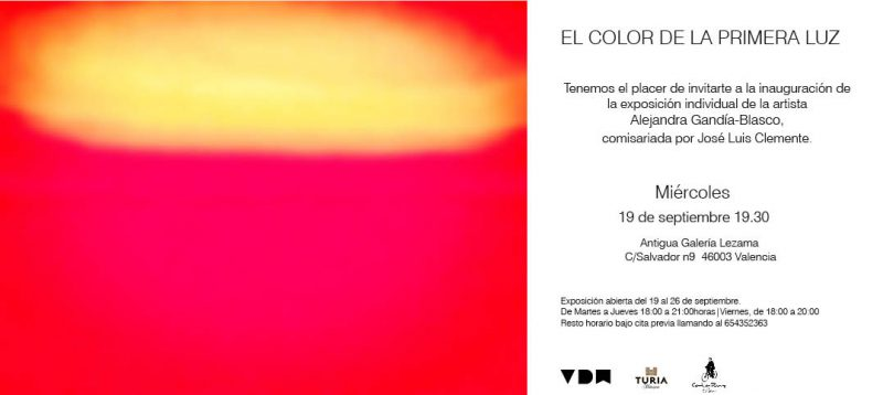"""Del 19 al 26 de septiembre laGalería Lezama abre sus puertas para presentar""""El color de la primera luz"""", una exposición deAlejandra Gandía-Blasco."""