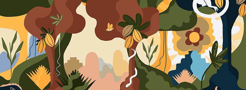Estudio yeyé diseña un paisaje selvático para la chocolatería La Rifa