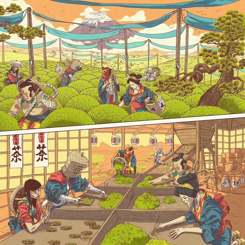Ilustraciones de Gerhard Human para Dozo Tea