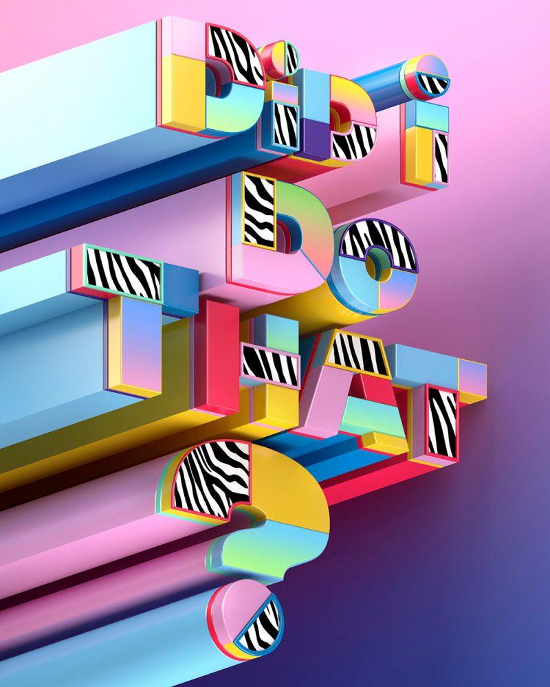 Ilustración digital 3D: las series tipográficas Muokkaa