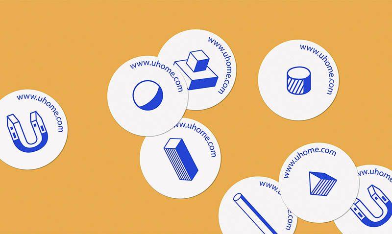 Líneas y colores primarios en el branding de uHome diseñado por Karla Heredia