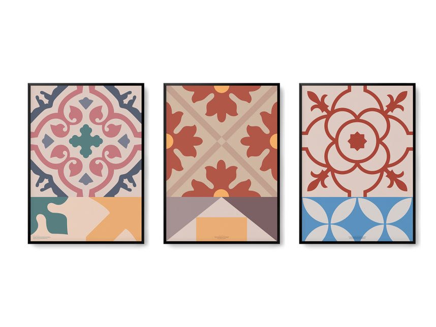 Dentro: pósters de diseño elaborados con papel reciclado de vasos de café