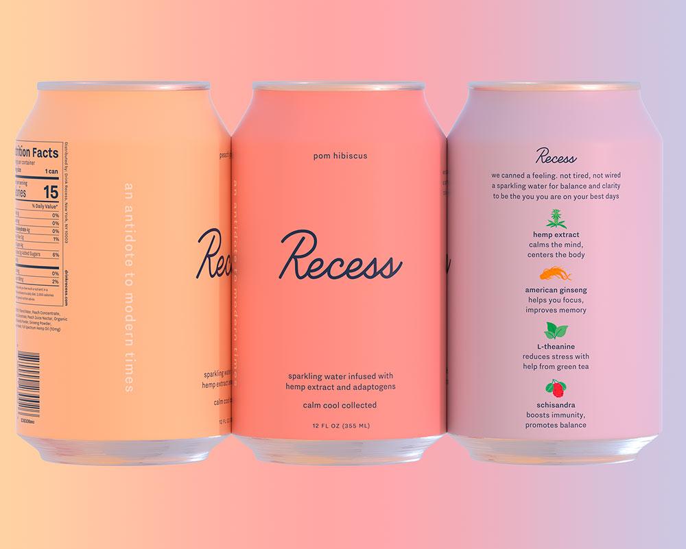 Recess, identidad de marca de Gin Laney Day Job: la bebida con cannabidol de moda