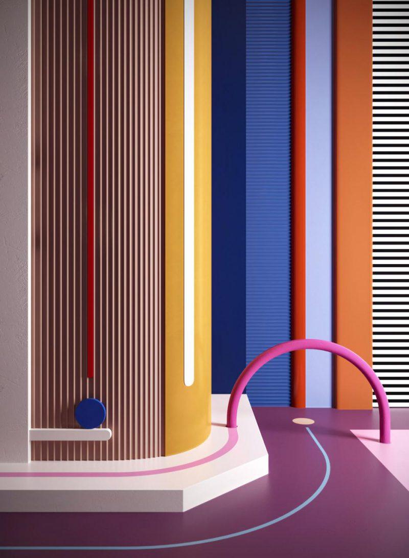 Daria Zinovatnaya, buen diseño ucraniano. Con la geometría por bandera