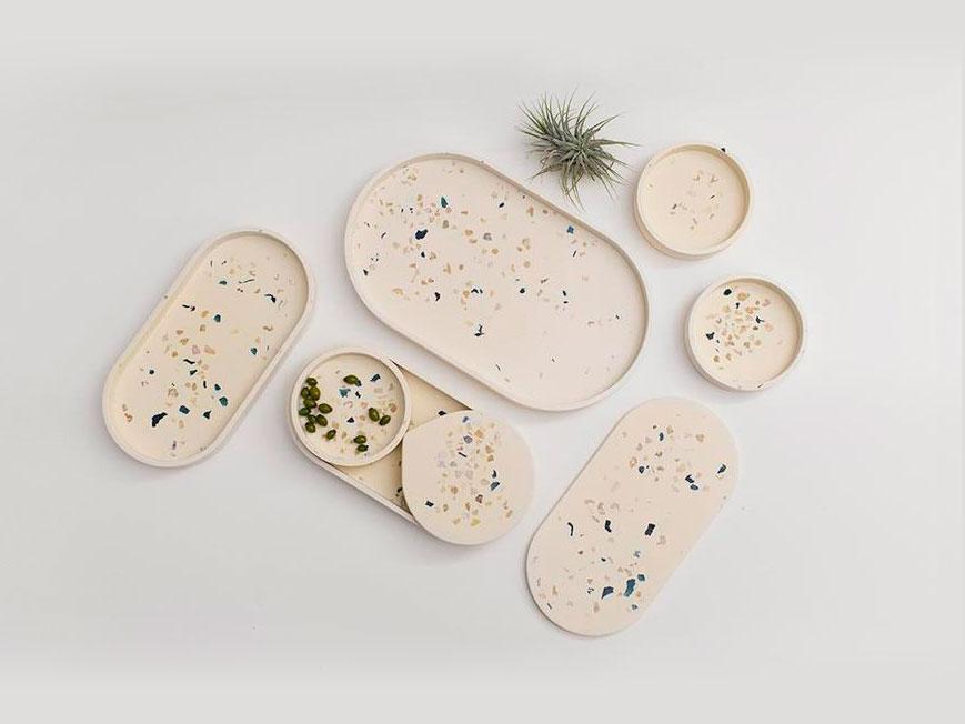 TerrazoPieces, diseño artesanal de Juan Ruiz Rivas. Objetos cotidianos de sobremesa