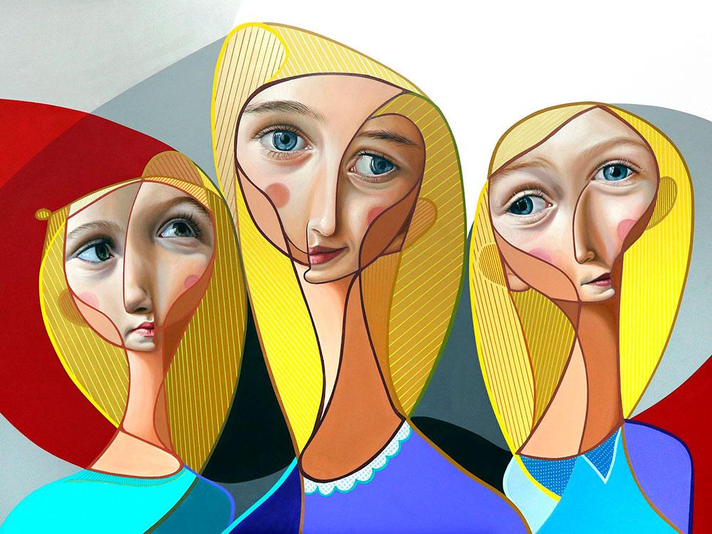 Postneocubismo, serie de pinturas de Belin. Cuando el spray y el cubismo se encuentran