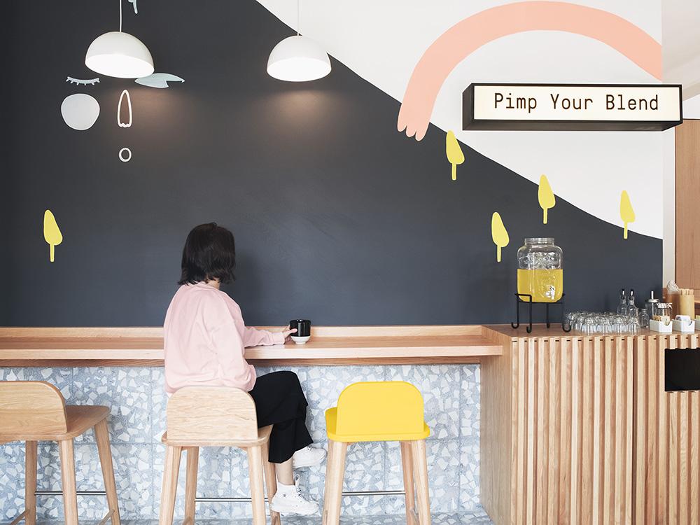 Blend Station II, la nueva cafetería de Futura en Ciudad de México. Ilustración y ambiente desenfadado